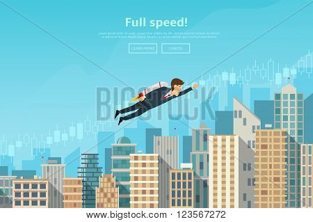 Businessman flying by the rocket up on career stairs. Concept of web banner with person flying by rocket to the sucsess. Modern flat design of urban landscape with city buildings vector illustration.