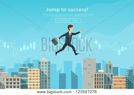 Confident businessman jumping between buildings. Concept of web banner with person jumping to the sucsess and doing risky jump. Modern flat design of urban landscape with city buildings vector illustration.