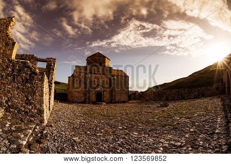 Panagia tou Sinti Monastery at sunset. Paphos District. Cyprus
