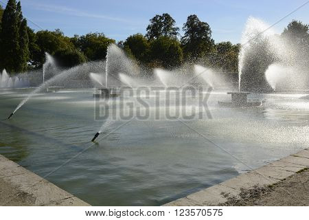 Fountains and pond in Battersea Park London England