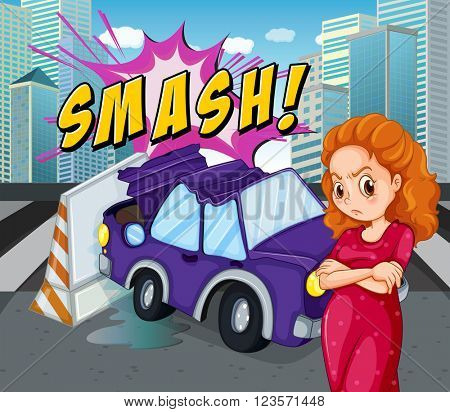 Mad woman at the accident scene illustration