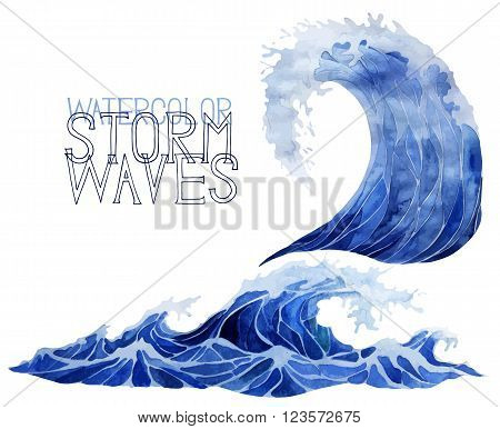 Deep blue storm waves isolated on white background. Watercolor vector sea and ocean design. Tsunami art.