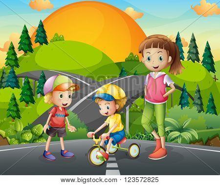Three kids playing on the road illustration