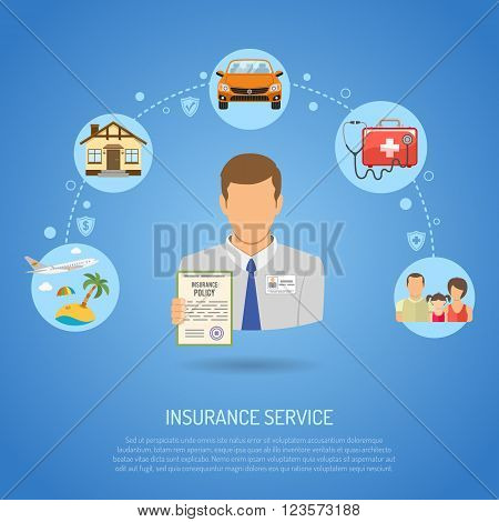 Insurance Services Concept for Poster, Web Site, Advertising like Car, House, Family, Medical and Vacation.