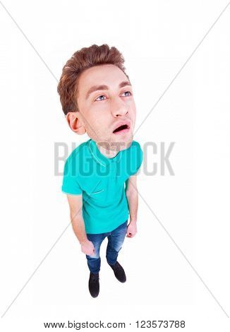 Top view of a bored cartoon man with big head. tired man looking up. Isolated over white background. Bored guy. wide-angle lens.