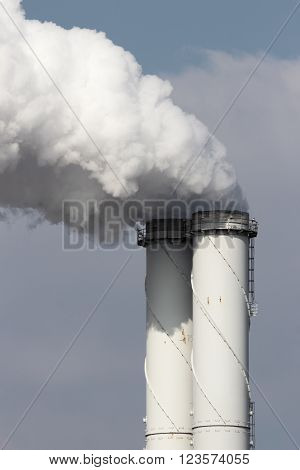 Industrial smoke emission from factory chimney pipes