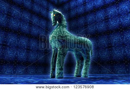 computer safety concept trojan horse in electronic environment. 3d illustration