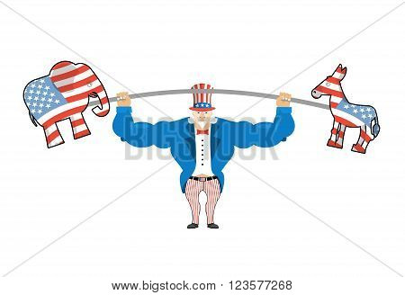 Uncle Sam And Donkey And Elephant. Democratic Donkey And Republican Elephant Strong Uncle Sam Goes I