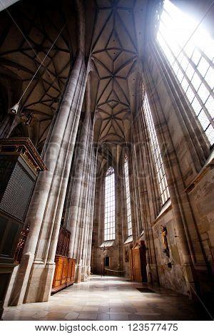 DINKELSBUHL GERMANY - JUNE 22: Interior of gothic St. George's Minster on june 22 2013 in Dinkelsbühl Germany.