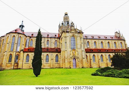 KLADRUBY CZECH REPUBLIC - JUNE 10: Kladrubitsky Benedictine monastery - one of the oldest Czech monasteries founded in 1114 by Prince Vladislav I on june 10 2013 in Kladruby Czech republic.