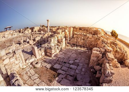 The Episcopal Precinct of Kourion illuminated by the last sunlight. Limassol District Cyprus