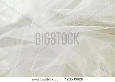 Transparent ivory wedding tulle or chiffon background