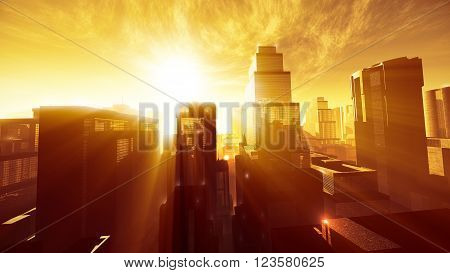 Megapolis In The Sunset Sunrise Lightrays