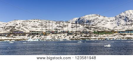 Colorful Arctic capital fjord panorama, Nuuk city Greenland