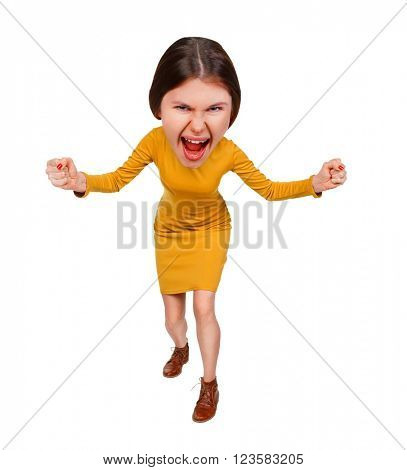 Top view of the furiously screaming, angry cartoon woman with big head. Isolated on white background.