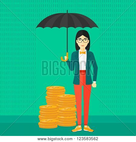 Woman with umbrella protecting money.