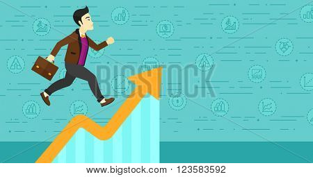 Man running on growth graph.