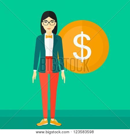Successful business woman with dollar coin.
