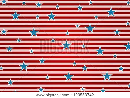 Presidents Day or Independence Day abstract USA flag colors background. Vector illustration with stripes and stars