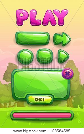 Cute cartoon game assets set, green glossy buttons, panel and progress bar for GUI design on park landscape background