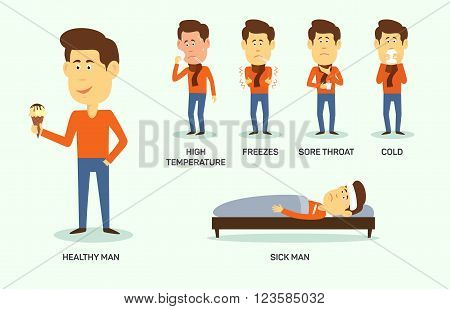 Vector illustration of sick and healthy man with ice-cream.  Symptom of high temperature, freeze, sore thoat, cold. Eps 10