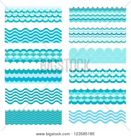 Collection of marine waves. Sea wavy ocean art water design. Vector illustration. Sea wave pattern. Ocean vector wave texture. Types of water waves. River wave cartoon pattern.