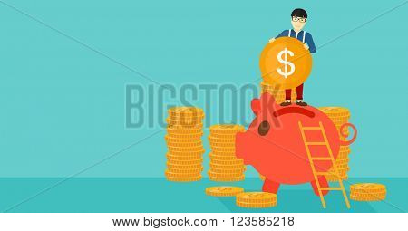 Man putting coin in piggy bank.