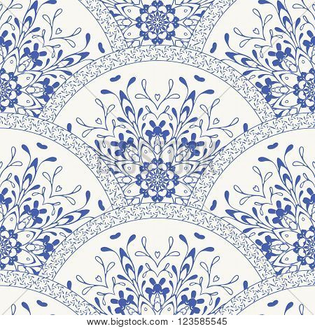 Seamless patchwork pattern frame of trendy colored floral flower tile circles. For surface textures, fabric textile swatch. Indian Islam mexican ethnic round style. White indigo blue vector