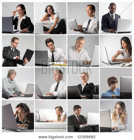 Composition of different people using a laptop