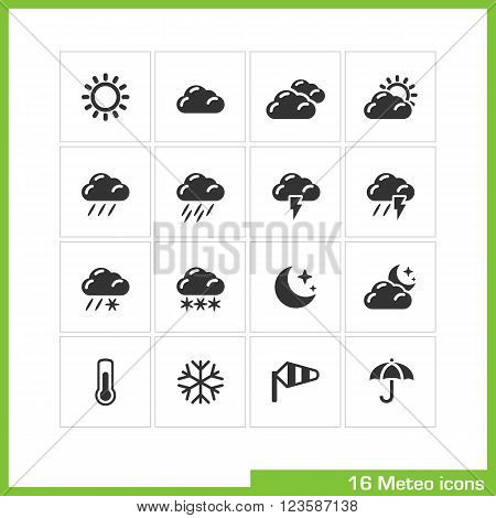 Meteo icon set. Vector black pictograms for web, computer and mobile apps, internet, interface design. weather cast, sun, cloud, rain, wind and umbrella symbol