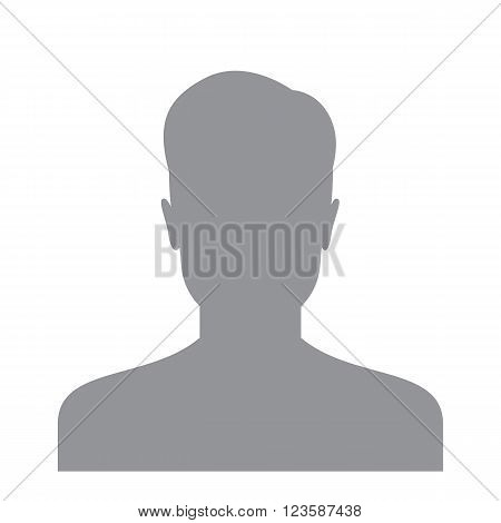 Male user icon isolated on a white background. Account avatar for web. User profile picture. Unknown male person silhouette
