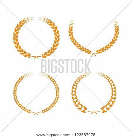 Wreaths of wheat ears or rice. Wheat ears set. Vector design element. Set of vector wreaths