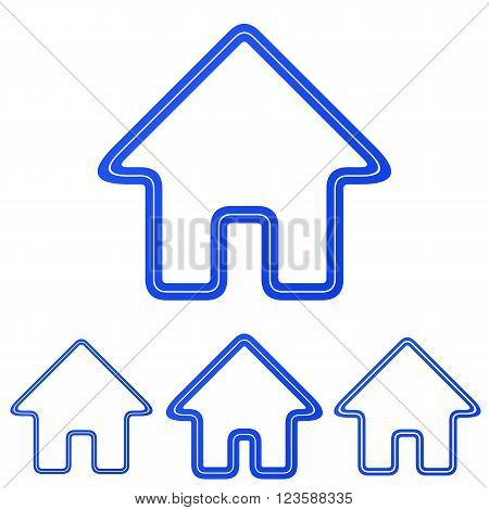 Blue line homepage logo icon design set