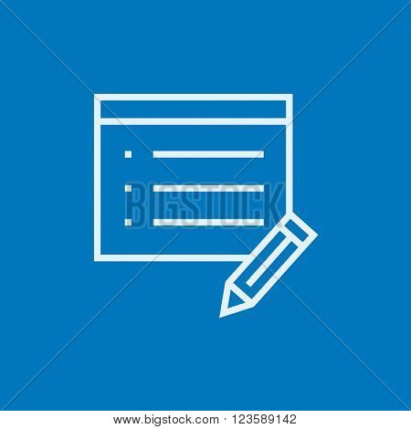 Taking note line icon.