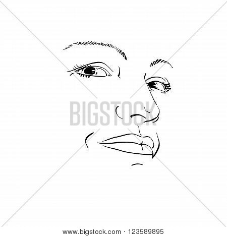 Facial expression hand-drawn illustration of face of girl with emotional expressions. Beautiful features of lady visage. Sorrowful woman sad mask.