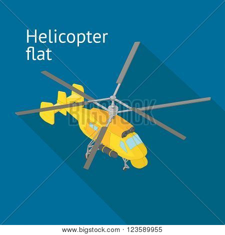 Flat isometric helicopter vector illustration. Rotorcraft transporter isometric flat vector illustration. Helicopter cargo vehicle.