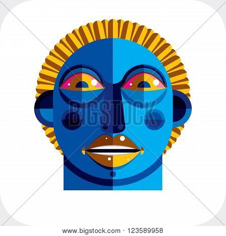 Avant-garde Avatar, Personality Face Created In Cubism Style. Modernistic Geometric Portrait, Multic