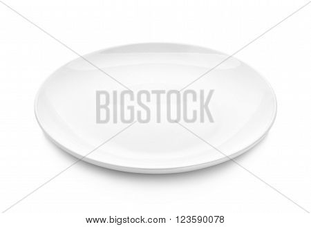 empty plate isolated on white background , dish