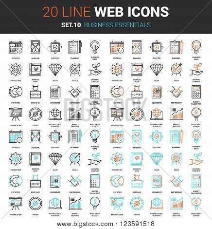 Vector set of business essentials line web icons. Each icon with adjustable strokes neatly designed on pixel perfect 64X64 size grid. Fully editable and easy to use.