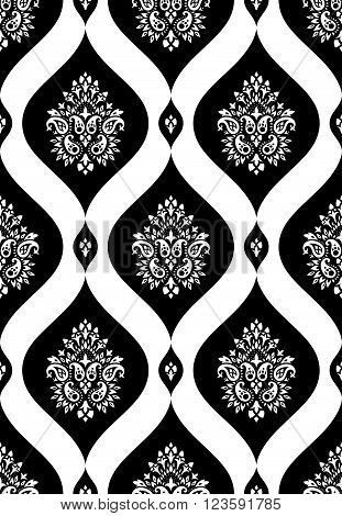Wallpaper in the style of Baroque. A seamless vector background whith paisley design elements. Indian floral ornament