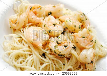 Close Up of Spaghetti with Gourmet Shrimp Scampi