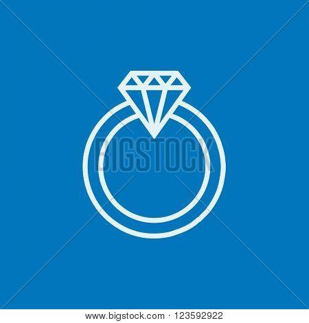 Diamond ring line icon.