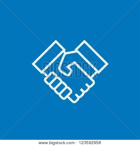 Handshake and successful real estate transaction line icon.