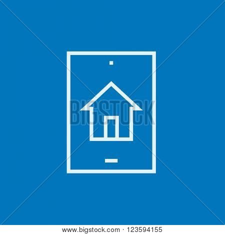 Property search on mobile device line icon.