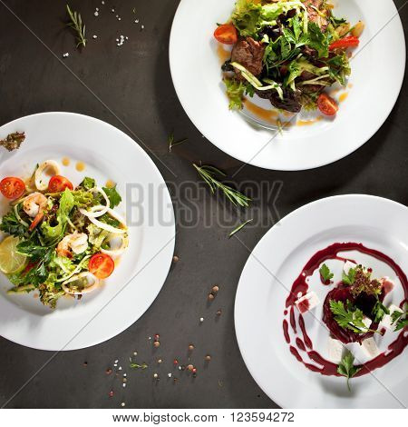 Various Salad with Meat, Seafoods and Vegetables