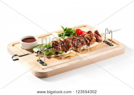 Grilled Pork Skeweres with Vegetables and Sauce