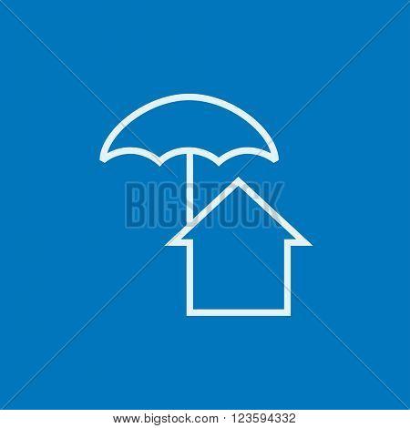 House under umbrella line icon.
