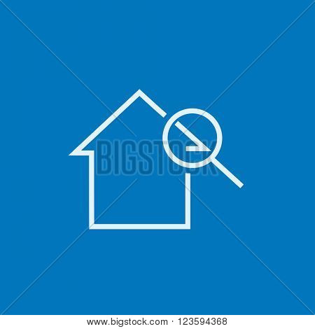 House and magnifying glass line icon.