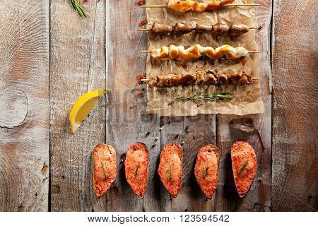 Grilled Tasty Foods and Baked Mussels on Parchment