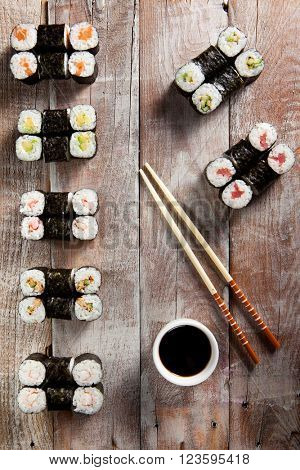 Sushi Set on Wooden Background